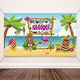 Decoraciones de Fiestas Hawaianas de Aloha, Póster con Letrero Brillante de Tela Aloha Banner para...