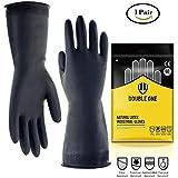 Industrial guantes doble uno Indusrial protección guantes de látex natural de 12,2cm de largo Tamaño M Negro 1pares (tamaño M)