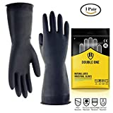 "Latex Chemical Resistant Gloves by Double One Industrial Safety Work Protective gloves,12.2"" Length Black 1 Pair (Medium)"