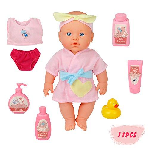 New Born Puppe Set Baby Girl Puppe Spielset mit Bad Spielzeug für Kinder Kinder Alter 3+