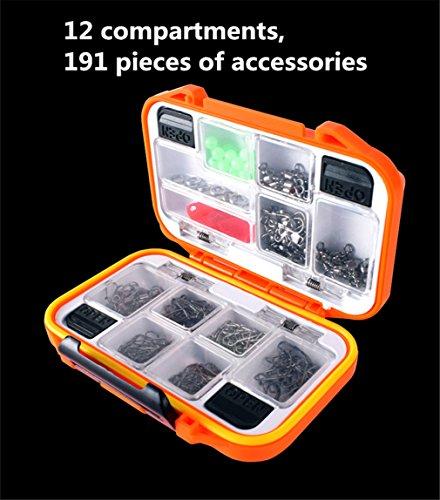 Cftrum 12 tipi 191 pcs pesca accessori ami da pesca girevoli peso sinker pesca con scatola pesca (dimensione della cassetta: 12 x 8 x 4 cm)
