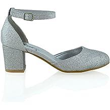 Nuovo Sandalo Donna Tacco a Blocco Medio-Basso Cinturino alla Caviglia Fibbia