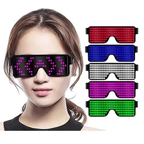 LED Beleuchten Gläser 8 Modi Anzeige Brille Dynamisches Muster Wiederaufladbarer Zyklus Verwenden Sie Partyfestivals Atmosphäre LED-Brille,Purple