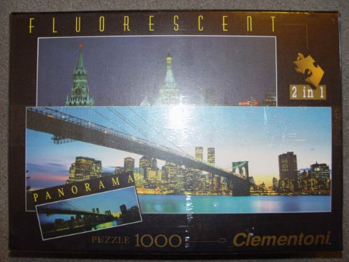 Fluorescent 2 in 1 Puzzle - Manhattan (mit Twin Towers) & Roter Platz (Twin Towers-puzzle)