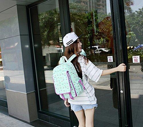 Yuandian Ragazza Adolescente Tela Stampa Cartoon Ridurre La Spalla Carico Facile Scuola Zaino Zaino Fresco Regalo Bambini Zaino Verde