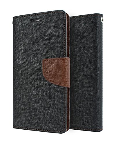 Relax And Shop Luxury Wallet Style Flip Cover For Samsung Galaxy S4 i9500 - Black With Brown  available at amazon for Rs.189