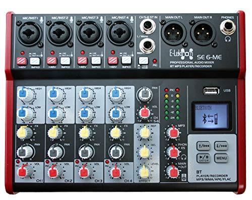 E-Lektron SE-6 Live Mischpult 6-Kanal Mixer inkl. USB/Bluetooth/Soundkarte/Phantom