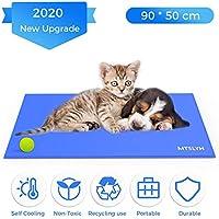 Yerloa Pet Cooling Mat Haustier kühlmatte Kühlmatte für Hund & Katze Haustier Eismatte Selbstkühlende Matte Hunde Matte Haustier Matte für Kisten, Hundehütten und Betten (90 * 50cm)