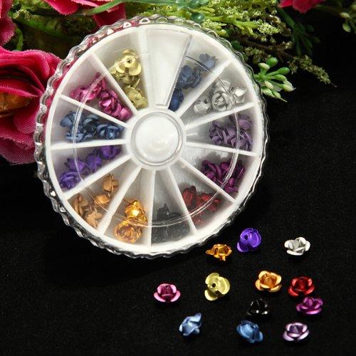 KINGSO Carrousel 3D Tips Rose Fleur Strass Acrylique nail Kit / Set d'accessoires pour manucure / pedicure pour deco d'ongles roues