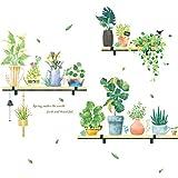 Hosaire Stickers Muraux Autocollants Créative Motif de Plante Verte Amovible PVC Murale Décoration Murale pour Cuisine Chambre Maison Bricolage Wall Sticker Autocollant