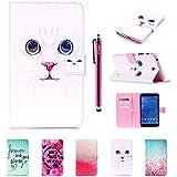 Galaxy Tab 4 T230 Funda, T230 Cover, DEENOR Lindo Colorful Diseño Flip Carcasas PU Cuero Cover Stand Funda Carcasas para Samsung Galaxy Tab 4 7.0 SM-T230. (White cat face)