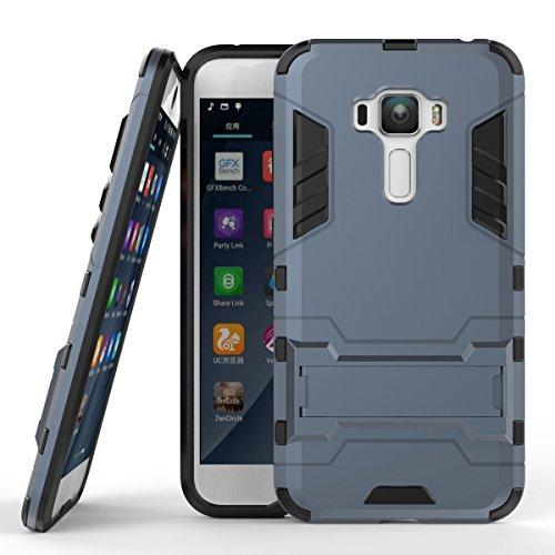 pinlu Hülle Für ASUS Zenfone 4 Selfie Pro ZD552KL (5.5 Zoll) Raffinierte Kombination aus Rutschfestem TPU- Und Gehärtetem Polycarbonat Case 2-Lagen Hybrid Hard Cover Schutzhülle Dunkelblau