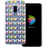 mobilefox® dessana Aquarell Tier Pattern Transparente Silikon TPU Schutzhülle 0,7mm dünne Handy Tasche Soft Case für Samsung Galaxy S9 Plus Schmetterling