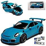 alles-meine.de GmbH Porsche 911 991 GT3 RS Coupe Miami Blau Porsche Museum 2011-2018 1/24 Welly Modell Auto mit individiuellem Wunschkennzeichen