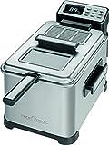 ProfiCook PC-FR 1088 Kaltzonen-Fritteuse, Deckel mit Sichtfenster, LCD-Display 6 elektrisch-regelbare Frittierprogramme, 2500 Watt, 4 Liter, schwarz/edelstahl