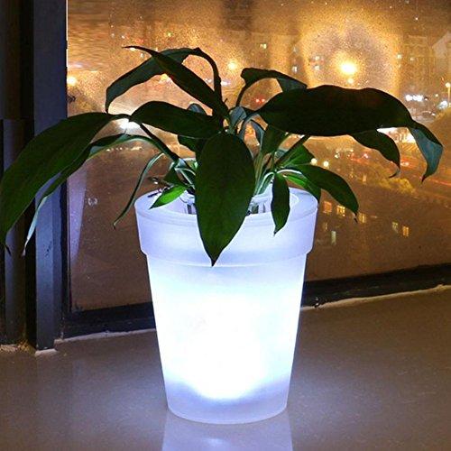 GFULLOV 1 Pieza de Maceta de plástico Creativo con luz LED Blanca para jardín, Patio, Valla o decoración de Patio, As Picture Show, 16.5x11x19cm