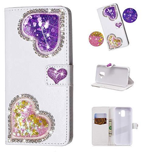 Yobby Brieftasche Hülle für Samsung Galaxy J6 Plus,Diamant Geldbörse Handyhülle 3D Bling Flüssig Glitzer Süß Herz Weiß PU Leder Flipcase Kartenfach Stand Magnetisch Schutzhülle-Lila