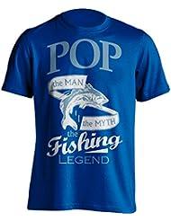 """Pop Pesca Camiseta """"Pop, el Man, The Myth, de la leyenda"""" Pesca De Pesca Camiseta–idea de regalo para Dad en su cumpleaños, Regalo de Navidad o día del padre., azul"""