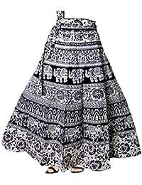 MARWAR Skirt Women's Mandala Hand Block Printed Long Wrap Around (Multicolor,Free Size)