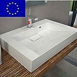 Design Waschbecken 70cm zur Wandmontage oder als Aufsatzwaschbecken aus Mineralguss | 70x50x12cm | Made in EU | hochwertig verarbeitet