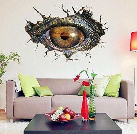Saingace Wandaufkleber Wandtattoo Wandsticker,Große Dinosaurier-Augen-3D Wand-Aufkleber-dekorative kreative entfernbare (Große Wand-dekor)