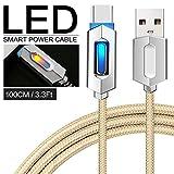 Pawaca Intelligentes USB-Ladekabel, 1M/3.2FT Typ-C Nylon Geflochten Syn Auto-Trennung Ladegerät Kabel mit LED-Anzeige für MacBook, Google Pixel, Nexus, Samsung Galaxy(Gelb)