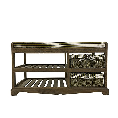 Rebecca mobili panca con 2 ceste e 2 ripiani, panchina in legno e vimini, marrone per casa, ingresso e giardino - misure 30x30x30 cm (hxlxp) - art. re4095