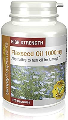SimplySupplements Flaxseed Oil 1000mg|Alternative to Fish Oil for EPA & DHA|120 Capsules by Simply Supplements
