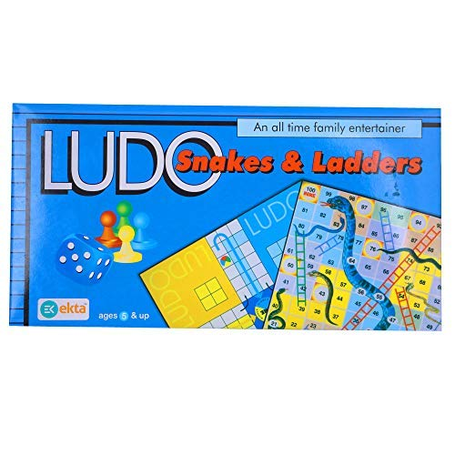 Skee Ludo Snakes and Ladders Travel Board Game 2-in-1 Classic Ludo Set Strategy Family Board Game
