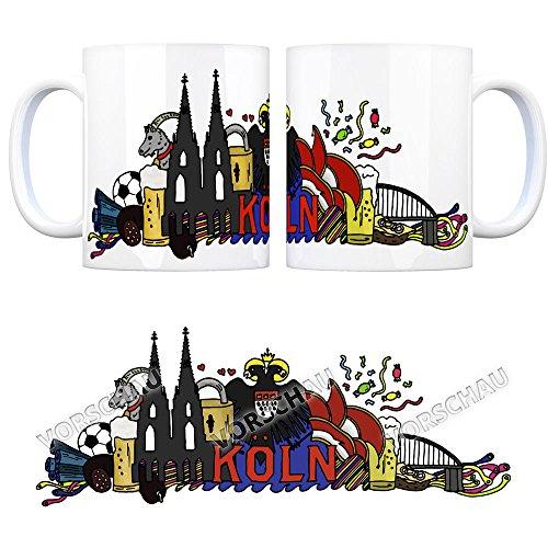 Kaffeebecher mit Wimmelgrafik Köln Motiv