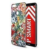 Eouine Huawei P Smart Hülle, Ultra Dünn Schutzhülle Silikon Transparent mit Muster Motiv Handyhülle Weich TPU Bumper Case Backcover für Huawei P Smart Smartphone (Bunte Blume)