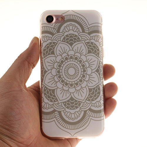Ooboom® iPhone 8/iPhone 7 Hülle TPU Silikon Gel Ultra Dünn Schutzhülle Handy Tasche Case Cover für iPhone 8/iPhone 7 - Don't Touch My Phone Totem Blume Weiß