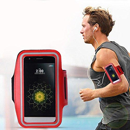 Preisvergleich Produktbild Saingace® Armband-Gymnastik-laufender Sport-Armbinde-Abdeckungs-Fall 5, 8 Zoll Universal Für LG G5,  Gymnastik,  Jogging,  Workout,  Rad fahren,  Wandern (Rot)
