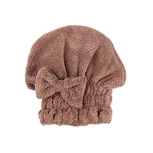 TianranRT Bogen Trocken Haar Mütze Mikrofaser Haar Turban Schnell Trocken Haar Hut Eingewickelt Handtuch Baden Mütze (Kaffee) -