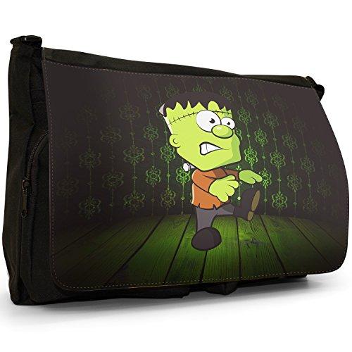 Die Monster - Frankenstein Große Messenger- / Laptop- / Schultasche Schultertasche aus schwarzem Canvas