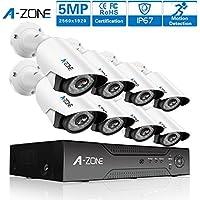 A-ZONE (1920P) Videoüberwachung 5MP Überwachungskamera Set außen 8 Kanal 5MP DVR 8X 1920P Überwachungskamera nachtsicht Wasserdicht IP67 Bewegungsmelder, NO HDD