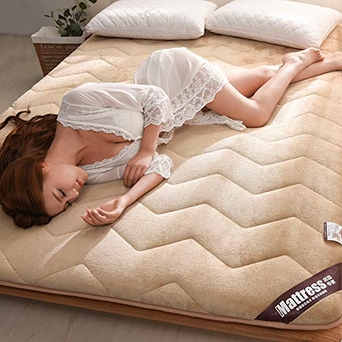 D&LE Tatami Schlaf Matratze Topper, Folding 2 Zoll Faser-Baumwolle Matratze Pad Stereo Atmungsaktive Betten-Leicht tan 150x190x5cm Folding Stereo