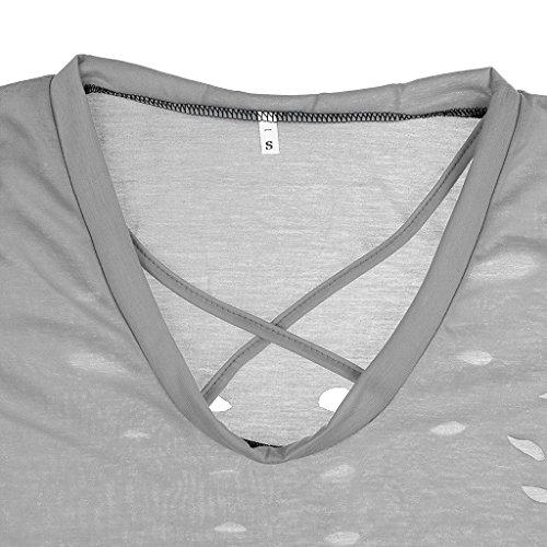 MagiDeal Damen Sommer Kurzarm T-Shirt V-Ausschnitt mit Schnürung Vorne Oberteil Tops Bluse Shirt Grau