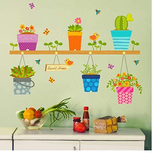 Blumen Topf Schmetterling Wandtattoos Aufkleber Wohnzimmer Schlafzimmer 3D Garten Fenster Wandkunst Poster Wanddekoration Schöne Tapete Wandbild ()