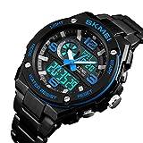ZHAOKL Herren Digitaluhr,Blue Men Fashion Digitalen Quarzuhr Mens Uhren Sport Edelstahl Wasserdicht Casual Multifunktionshebel Beobachten -