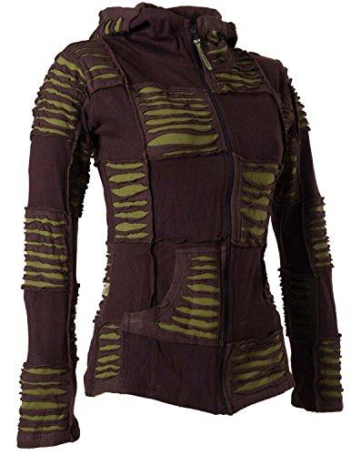 Vishes – Alternative Bekleidung – Damen Patchwork Jacke mit Cutwork und Zipfelkapuze Braun-Olive