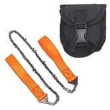 Pocket Chainsaw, portatile pieghevole seghe a mano strumento di catena per motosega da potatura con custodia per sopravvivenza, campeggio, albero di taglio, caccia e outdoor Exploring, Orange