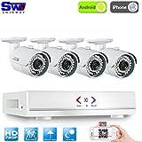 ANRAN 4CH 1080N AHD Système de Caméra de Surveillance QR Code 4 caméra Intérieur/Extérieur Etanche 720p 1.0Megapixels Haute Résolution de Sécurité Accès à distance via Smartphone/PC, Pas de disque dur