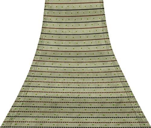 Svasti geometrisches Dreieck u Jamdani Vintage Sari Refurbished Birne grün 100% reine Seide gedruckt Craft Stoff 5 Yard -