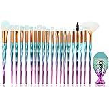 Mermaid - Juego profesional de 21 brochas de maquillaje en material sintético para aplicar bases,