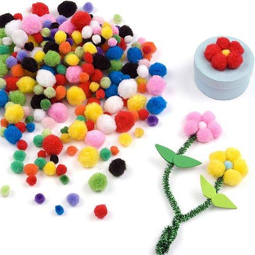 Bunte Mini-Pompons - für Kinder zum Basteln - toll für Figuren und Dekoration - 500 Stück