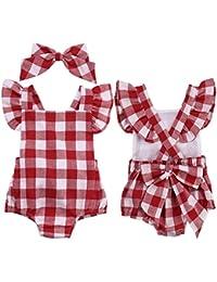 Mono bebé ❤️ Amlaiworld Ropa bebé recién nacido Bebé Unisex Algodón Lindo Impresión Mono Bodies 0 - 18 Mes (rojo, Tamaño:3-6Mes)