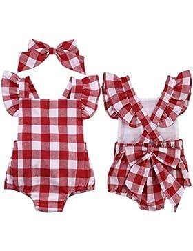 Mono bebé ❤️ Amlaiworld Ropa bebé recién nacido Bebé Unisex Algodón Lindo Impresión Mono Bodies 0 - 18 Mes (rojo...