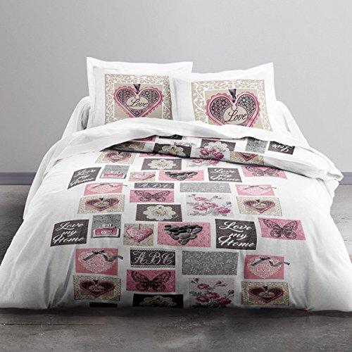 Today HC3 Parure de Lit 2 Personnes 100% Only Love MY Home Housse de Couette 240x220 cm + 2 Taies d'Oreiller 63x63cm, Polyester, Blanc, Rose, 220x240 cm