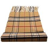 TigerTie Feiner Designer Schal in beige camel braun rot schwarz anthrazit kariert - Stoff Cashmink